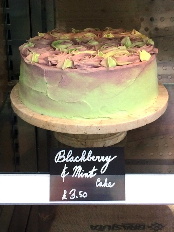 blackberry and mint cake whole purple and green swirl icing summer tea room nottingham