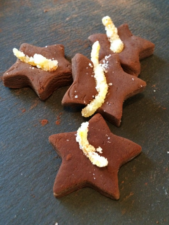 chocolate fudge star shapes homemade no bake with candied orange peel decoration