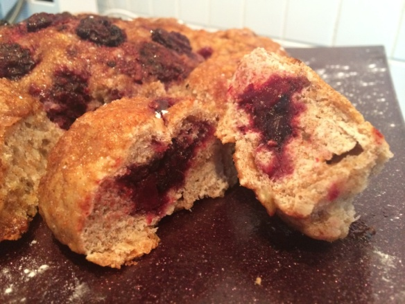inside blackberry filled apple bread tear and share loaf gbbo