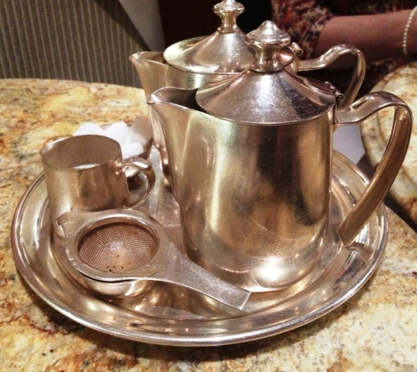 silver service tea set at bettys tea room york brunch or afternoon
