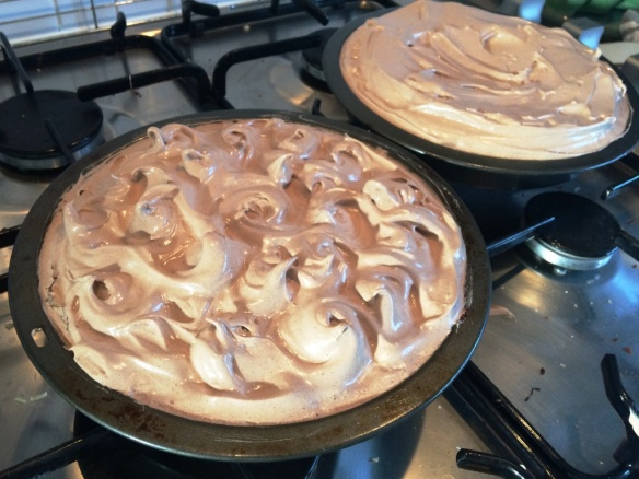 swirl meringue topping on brownie cake layer recipe gluten free dessert