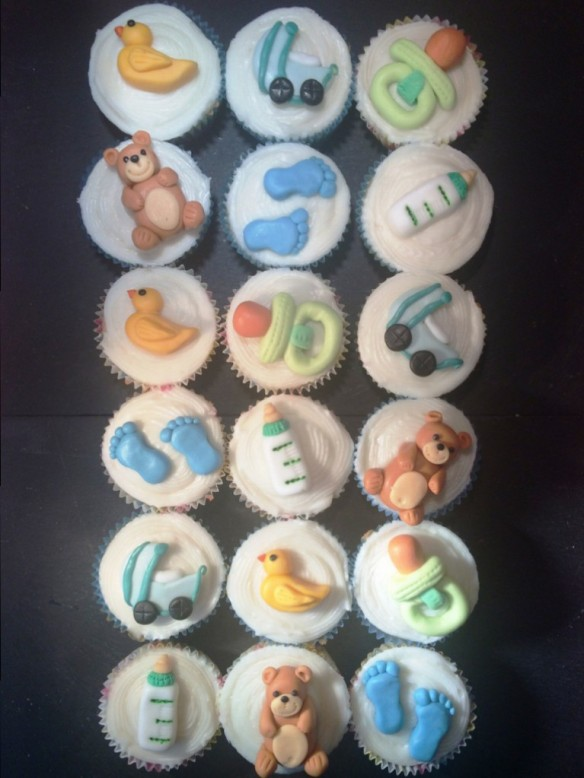 18 baby shower cupcakes party ready handmade fondant sugarpaste toppers toys blue and green