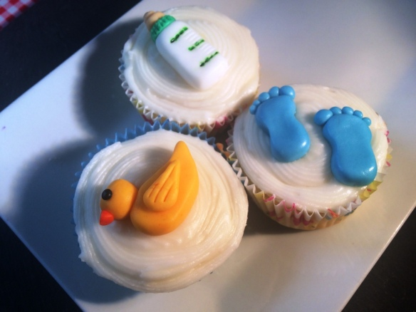baby shower cupcakes with handmade toppers bottle duck blue boy footprints