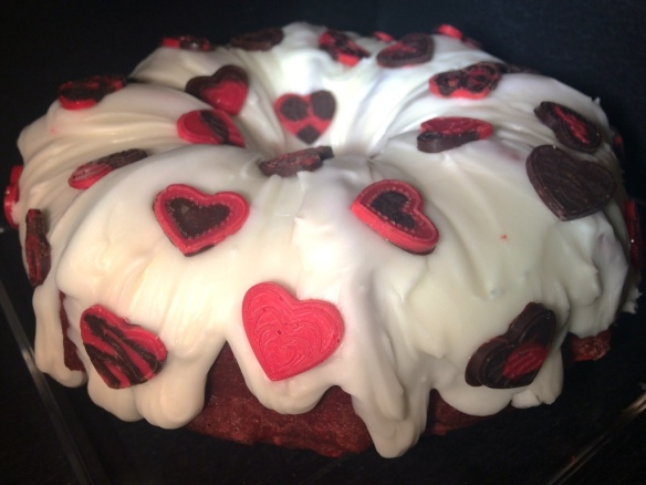 valentines red velvet bundt cake beetroot and hand decorated chocolate hearts