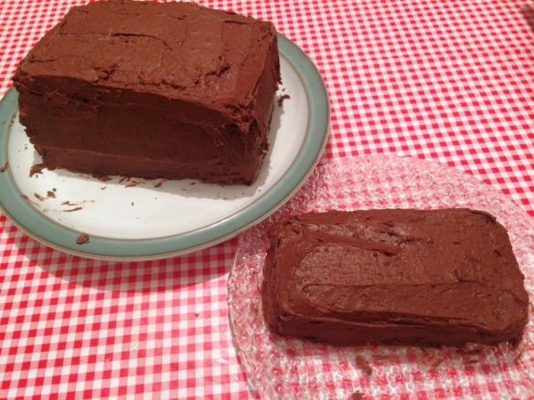 chocolate buttercream crumb-coated square cakes for birthday