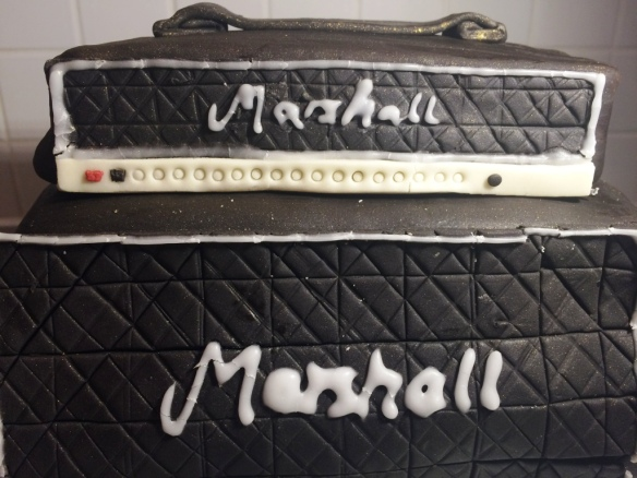 marshall amps small and large stack birthday cake hand piped details