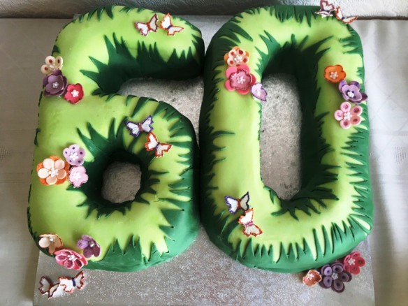 60 birthday cake happy sixtieth sixty shaped homebake fondant decoration green grass flowers and butterflies