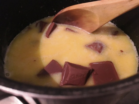 melting cadbury chocolate milk and butter for icing recipe creme egg cake